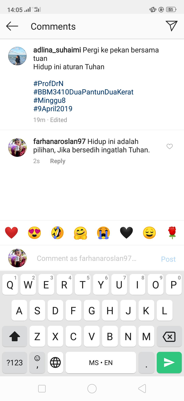 Bbm3410dua Tugasan Instagram Balas Pantun Dua Kerat Hana S Blog